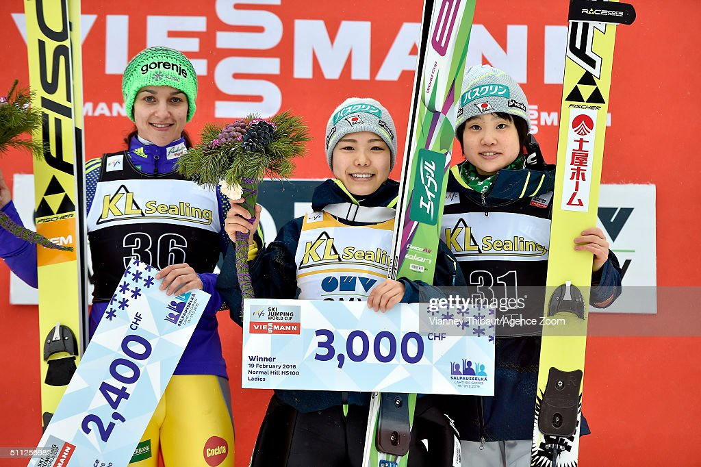 Sara Takanashi of Japan takes 1st place, Maja Vtic of Slovenia takes 2nd place, Yuki Ito of Japan takes 3rd place during the FIS Nordic World Cup Women's Ski Jumping HS100 on February 19, 2016 in Lahti, Finland.