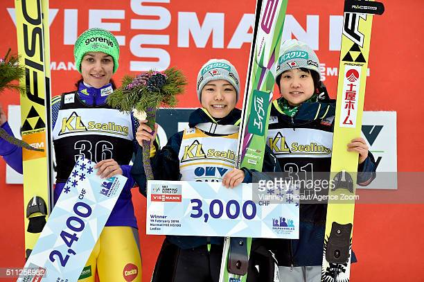 Sara Takanashi of Japan takes 1st place Maja Vtic of Slovenia takes 2nd place Yuki Ito of Japan takes 3rd place during the FIS Nordic World Cup...