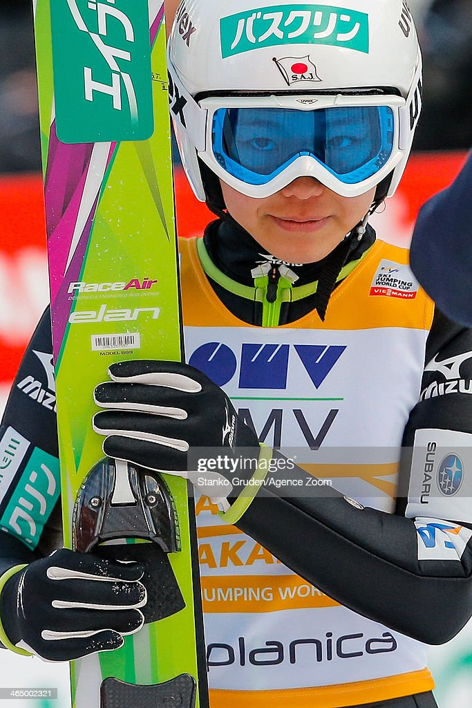 Sara Takanashi of Japan takes 2nd place during the FIS Ski Jumping World Cup Women's HS95 on January 25, 2014 in Planica, Slovenia.