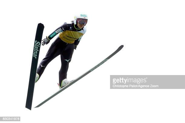 Sara Takanashi of Japan takes 2nd place during the Women's HS 96 at the FIS Grand Prix Ski Jumping on August 11 2017 in Courchevel France