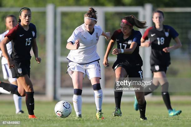 Sara Tamborini of Italy U16 in action agaist Talia Delladeruta of USA 16 during the 2nd Female Tournament 'Delle Nazioni' final match between Italy...