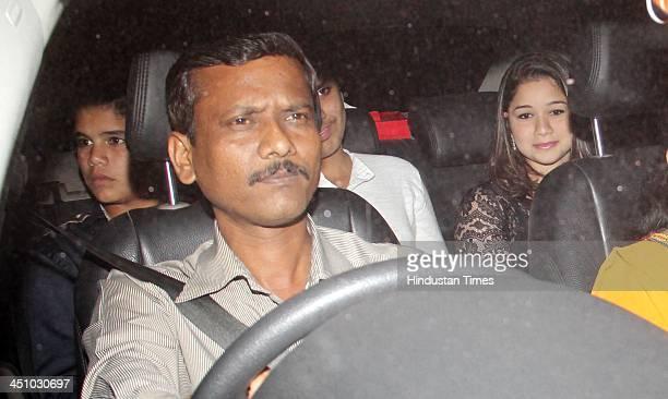 Sara Tendulkar and Arjun Tendulkar children of Sachin Tendulkar arrive to attend the farewell party of Sachin Tendulkar at Waterstone Hotel Andheri...