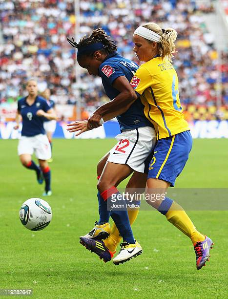 Sara Thunebro of Sweden and Elodie Thomis of France battle for the ball during the FIFA Women's 3rd Place Playoff match between Sweden and France at...