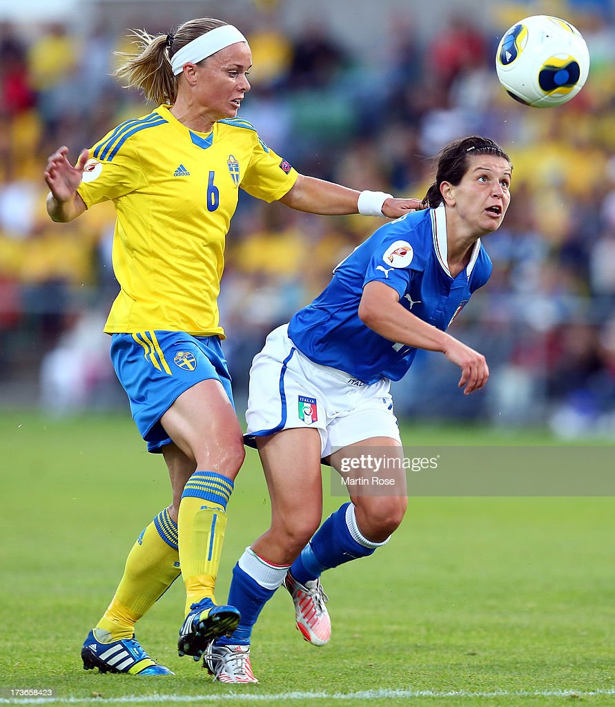 <a gi-track='captionPersonalityLinkClicked' href=/galleries/search?phrase=Sara+Thunebro&family=editorial&specificpeople=2375257 ng-click='$event.stopPropagation()'>Sara Thunebro</a> (L) of Sweden and Paola Brumana (R) of Italy battle for the ball during the UEFA Women's Euro 2013 group A match between Sweden and Italy at Orjans Vall on July 16, 2013 in Halmstad, Sweden.