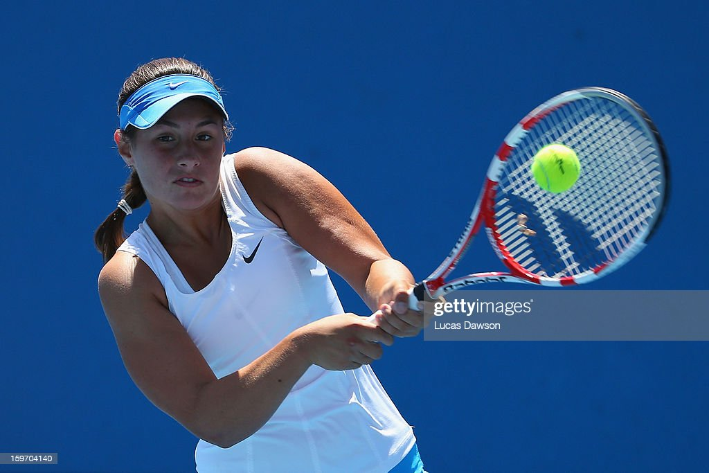Sara Tomic of Australia plays a backhand in her first round match against Gabriela Pantuckova of the Czech Republic during the 2013 Australian Open Junior Championships at Melbourne Park on January 19, 2013 in Melbourne, Australia.
