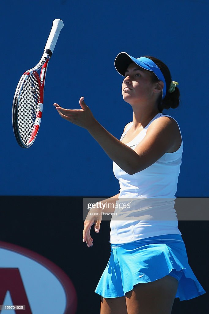 Sara Tomic of Australia throws her racquet into the air in her first round match against Gabriela Pantuckova of the Czech Republic during the 2013 Australian Open Junior Championships at Melbourne Park on January 19, 2013 in Melbourne, Australia.