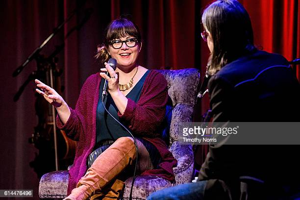 Sara Watkins and Scott Goldman speak during Spotlight Sara Watkins at The GRAMMY Museum on October 13 2016 in Los Angeles California