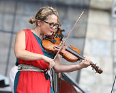Sara Watkins of Nickel Creek performs during the 2014 Newport Folk Festival at Fort Adams State Park on July 26 2014 in Newport Rhode Island