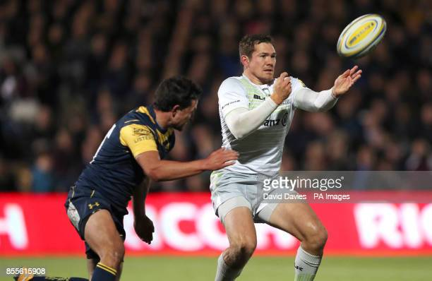 Saracens Alex Goode is tackled by Worcester Warriors Jonny Arr during the Aviva Premiership match at Sixways Stadium Worcester