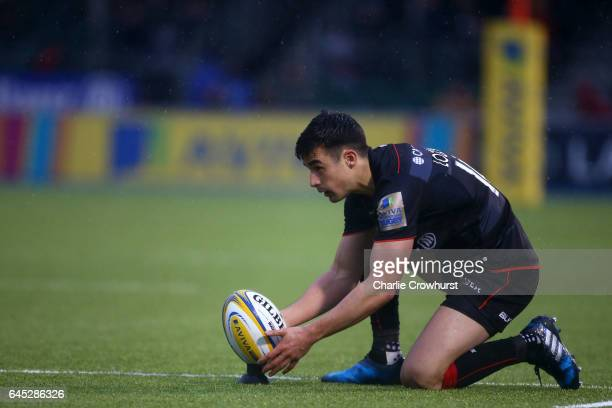 Saracens Alex Lozowski lines up a penalty during the Aviva Premiership match between Saracens and Sale Sharks at Allianz Park on February 25 2017 in...