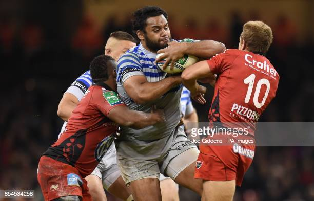 Saracens' Billy Vunipola bounces off RC Toulon's Jonny Wilkinson as he is tackled by Steffon Armitage during the Heineken Cup Final at the Millennium...