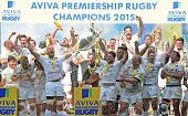 Saracens captain Alistair Hargreaves lifts the Aviva Premiership trophy following his team's 2816 victory during the Aviva Premiership Final between...