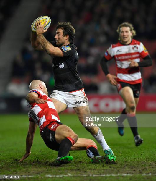 Saracens centre Marcelo Bosch makes a break during the Aviva Premiership match between Gloucester Rugby and Saracens at Kingsholm Stadium on February...