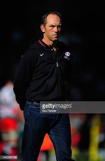 Saracens coach Brendan Venter looks on before the Aviva Premiership Semi Final between Leicester Tigers and Saracens at Welford Road on May 12 2012...