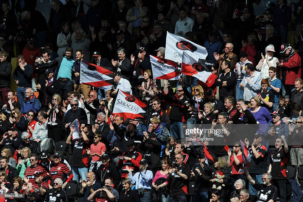 Saracens fans celebrate in the grandstand during the Aviva Premiership match between Saracens and Bath at Allianz Park on May 04, 2013 in Barnet, England.