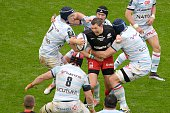 Saracens' full back Alex Goode vies for the ball during the European Rugby Champions Cup match beetween Racing Metro 92 and Saracens FC at the Parc...