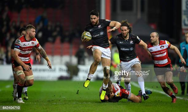 Saracens full back Sean Maitland makes a break during the Aviva Premiership match between Gloucester Rugby and Saracens at Kingsholm Stadium on...