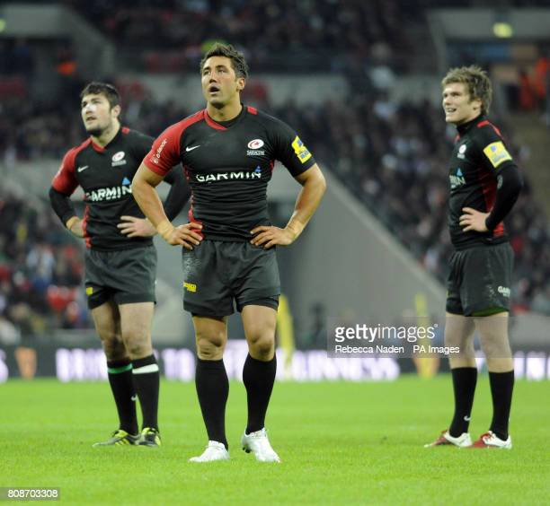Saracens' Gavin Henson waits for a referral decision on his try during Aviva Premiership match at Wembley Stadium London