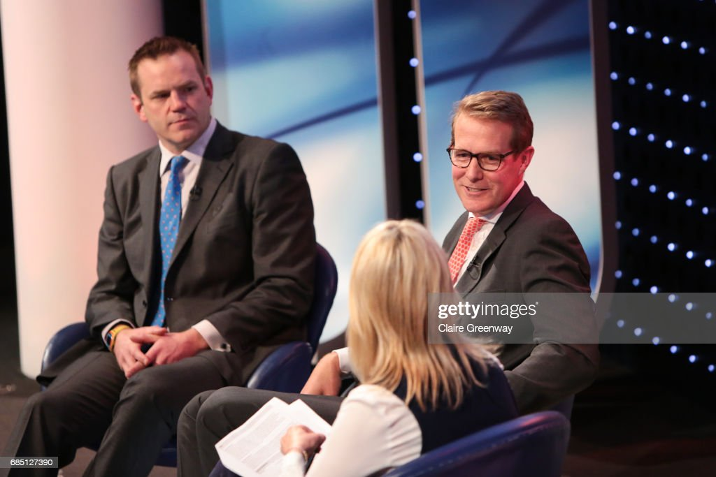 Saracens, Heath Harvey (R) speaks at a discussion with COO British and Irish Lions, Charlie McEwen (L), moderated by Sports Presenter Jill Douglas at The Sport Industry Breakfast Club, supported by Deltatre and hosted by BT Sport, at the BT Centre on May 19, 2017 in London, England.
