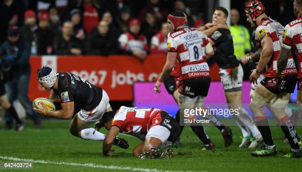 Saracens hooker Schalk Brits goes over for the first try during the Aviva Premiership match between Gloucester Rugby and Saracens at Kingsholm...