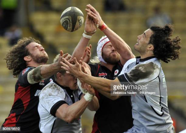 Saracens' Jacques Burger Newcastle's James Hudson Saracens' Mouritz Botha and Newcastle's Tane Tu'ipulotu all compete for a high ball during the...