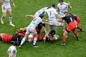 Saracens' lock Maro Itoje vies for the ball during the European Rugby Champions Cup match beetween Racing Metro 92 and Saracens FC at the Parc...
