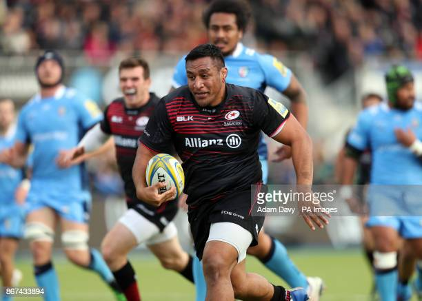 Saracens' Mako Vunipola bursts through to score the first try during the Aviva Premiership match at Allianz Park London