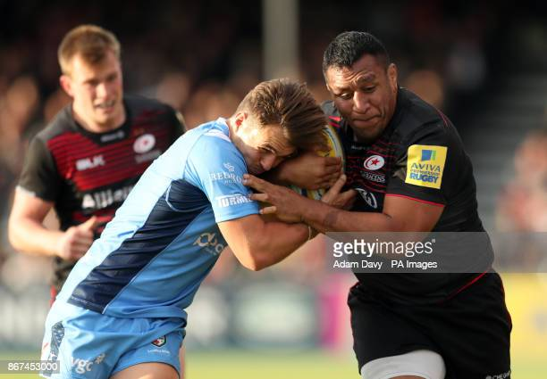 Saracens' Mako Vunipola is tackled by London Irish's Ben Meehan during the Aviva Premiership match at Allianz Park London
