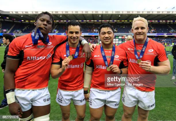 Saracens' Maro Itoje Alex Lozowski Titi Lamositele and Vincent Koch celebrates after the European Champions Cup Final at BT Murrayfield Edinburgh