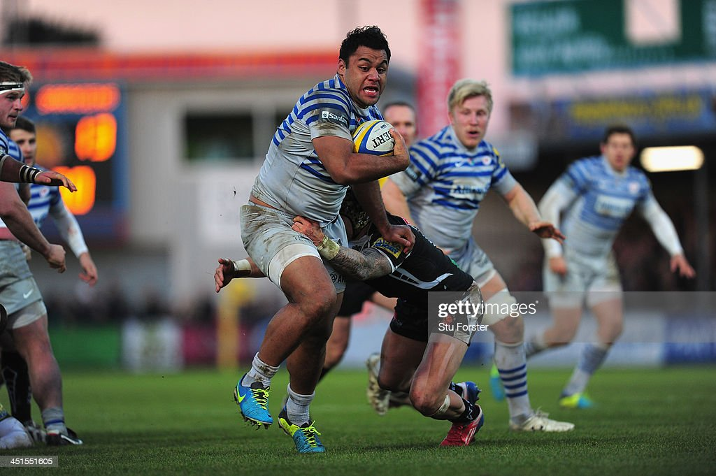 Saracens number 8 Billy Vunipola makes a break during the Aviva Premiership match between Exeter Chiefs and Saracens at Sandy Park on November 23...