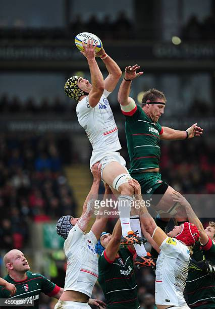 Saracens player Kelly Brown out jumps Brad Thorn of the Tigers during the Aviva Premiership match between Leicester Tigers and Saracens at Welford...