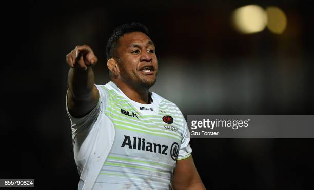 Saracens player Mako Vunipola reacts during the Aviva Premiership match between Worcester Warriors and Saracens at Sixways Stadium on September 29...