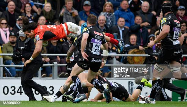 Saracens player Mike Ellery dives over to score during the Aviva Premiership match between Exeter Chiefs and Saracens at Sandy Park on May 20 2017 in...