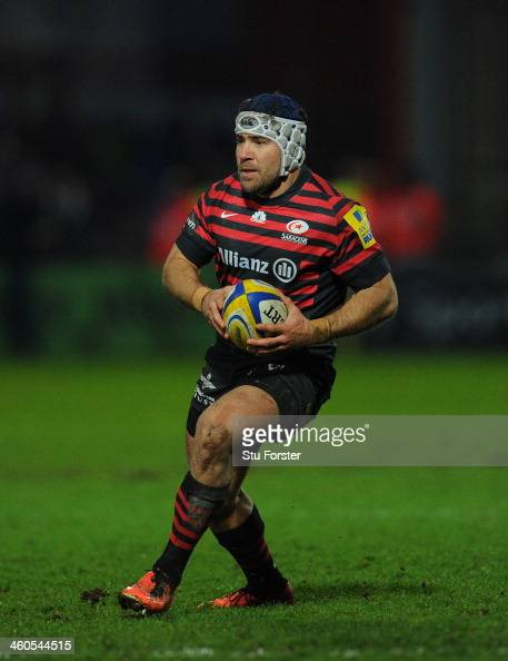 Saracens player Schalk Brits in action during the Aviva Premiership match between Gloucester and Saracens at Kingsholm Stadium on January 4 2014 in...