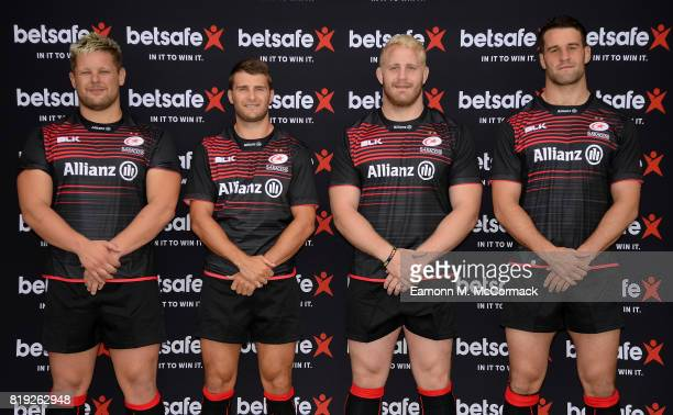 Saracens players Richard Barrington Richard Wigglesworth Vincent Koch and Calum Clark sport the new Betsafe branded shirts on July 19 2017 at their...