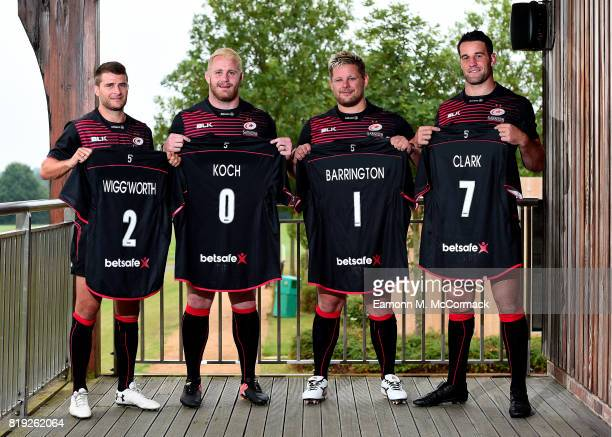 Saracens players Richard Wigglesworth Vincent Koch Richard Barrington and Calum Clark sport the new Betsafe branded shirts on July 19 2017 at their...