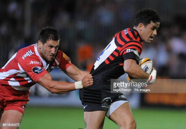 Saracens' Sam Stanley is tackled by Gloucester's Matt Cox during the JP Morgan Prem Rugby 7's at the Recreation Ground Bath