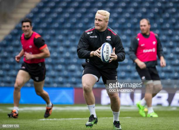 Saracens' South African prop Vincent Koch attends their captain's run training session at Murrayfield Stadium in Edinburgh Scotland on May 12 ahead...