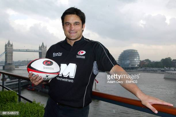 Saracens' Taine Randall poses with the new shirt after the sponsors launch