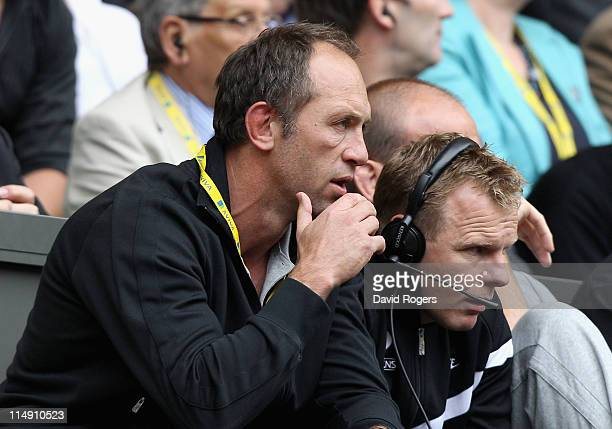 Saracens Technical Director Brendan Venter watches the action with Mark McCall Director of Rugby during the AVIVA Premiership Final between Leicester...