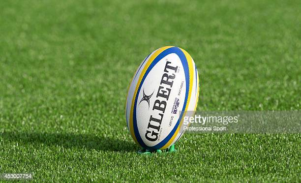 Saracens v Exeter Aviva Premiership 2013 A Gilbert rugby ball placed on the artificial turf at Alliance Park in Barnet