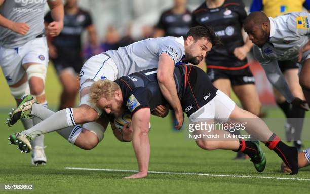 Saracens' Vincent Koch is tackled against Bath during the Aviva Premiership match at Allianz Park London