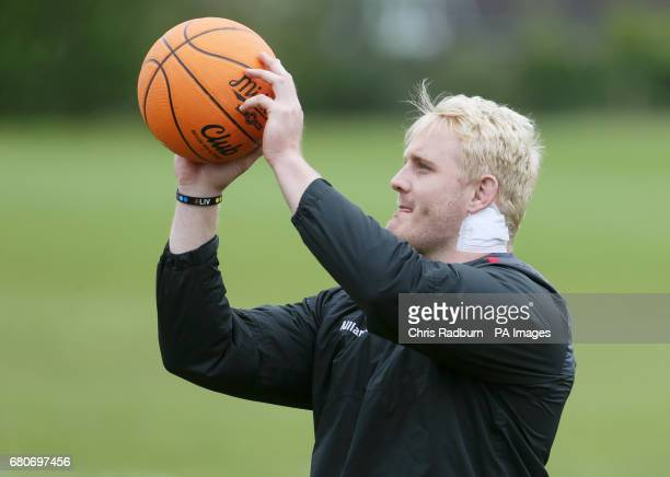 Saracens' Vincent Koch plays basketball during the training session at Saracens Training Centre St Albans