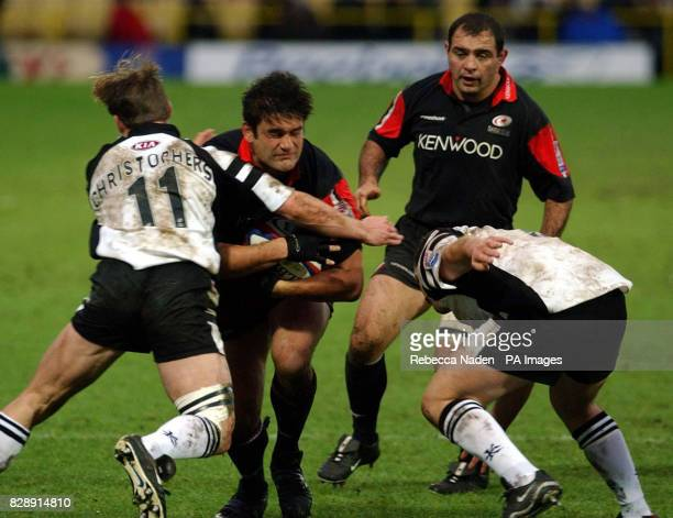 Saracens's Darragh O'Mahony is tackled by Leeds Tykes's Phil Christophers during their Zurich Premiership match at Vicarage Road Watford