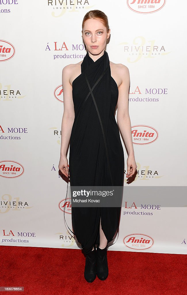 Sarah Alena arrives for A la mode Productions Presents Designers Night Out at Sofitel Hotel on October 3, 2013 in Los Angeles, California.