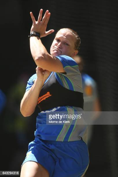 Sarah Aley of Australia bowls during a Southern Stars training session at Adelaide Oval on February 21 2017 in Adelaide Australia