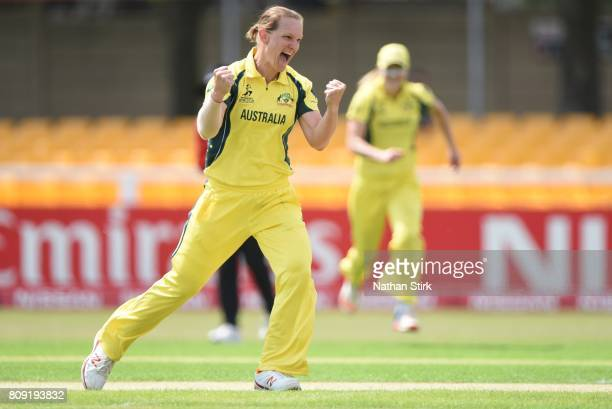 Sarah Aley of Australia celebrates after getting Ayesha Zafar of Pakistan out during the ICC Women's World Cup 2017 match between Pakistan and...