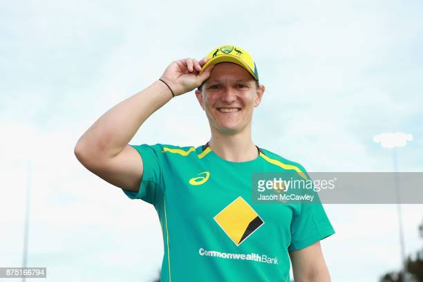 Sarah Aley of Australia poses after her cap presentation prior to the first Women's Twenty20 match between Australia and England at North Sydney Oval...