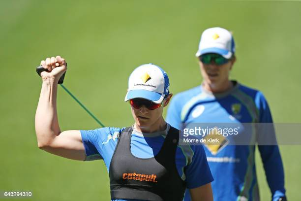 Sarah Aley of Australia warms up during a Southern Stars training session at Adelaide Oval on February 21 2017 in Adelaide Australia