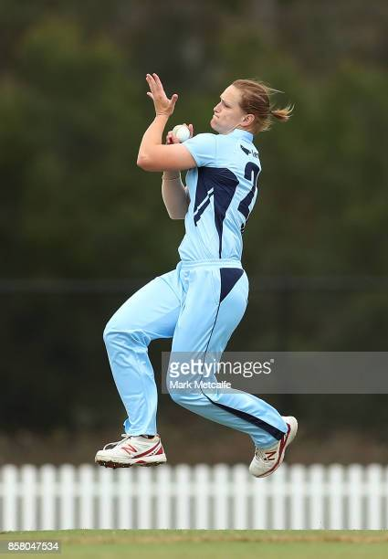 Sarah Aley of NSW bowls during the WNCL match between New South Wales and Queensland at Blacktown International Sportspark on October 6 2017 in...
